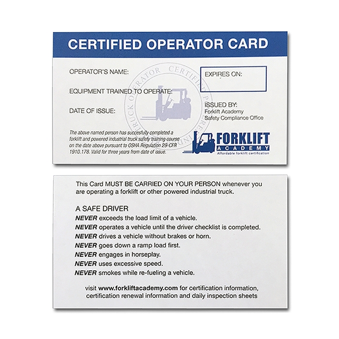 forklift training cards